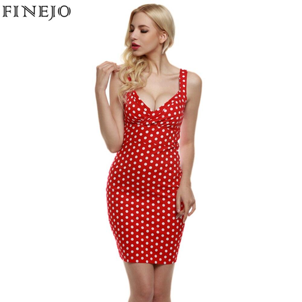 FINEJO Vintage Sexy Women Dress lady Elegant Deep V-Neck Sleeveless red Polka Dot Slim Bodycon party mini Dress plus size S-XXL