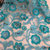 nigerian lace fabric 2018 high quality lace Green Silver Sequin Fabric Wholesale beads gold JJH16