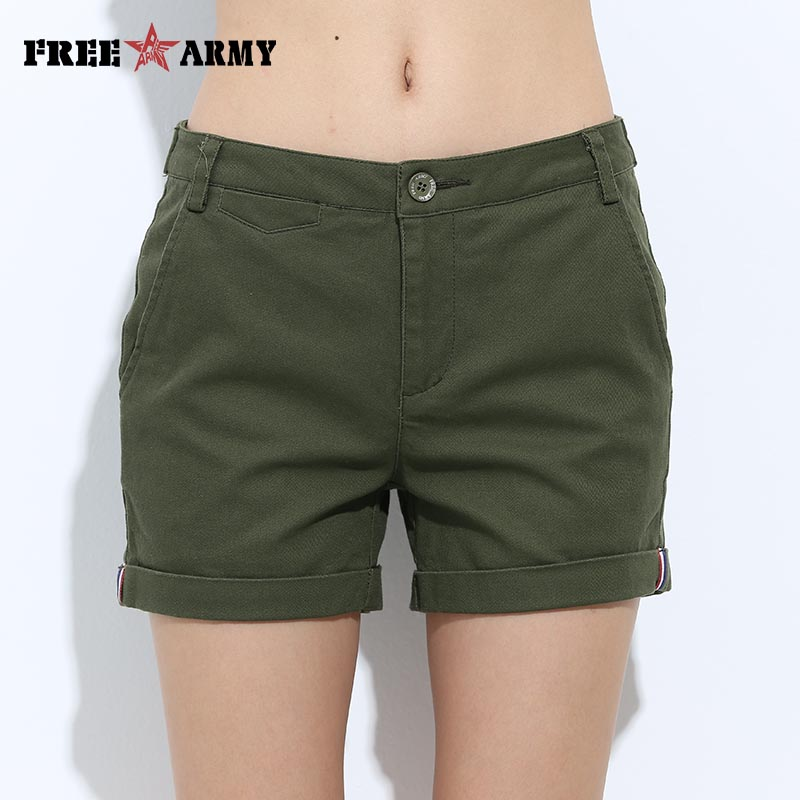 FREEARMY Mini Kvinnors Sexiga Korta Shorts Sommar Slim Hot Casual Shorts Girls Military Bomull Shorts 4 Färger Plus Storlek Kvinna