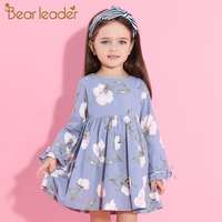 Bear Leader Girls Dress 2017 New Autumn Brand Princess Dress Petal Sleeve Flowers Print Design Children