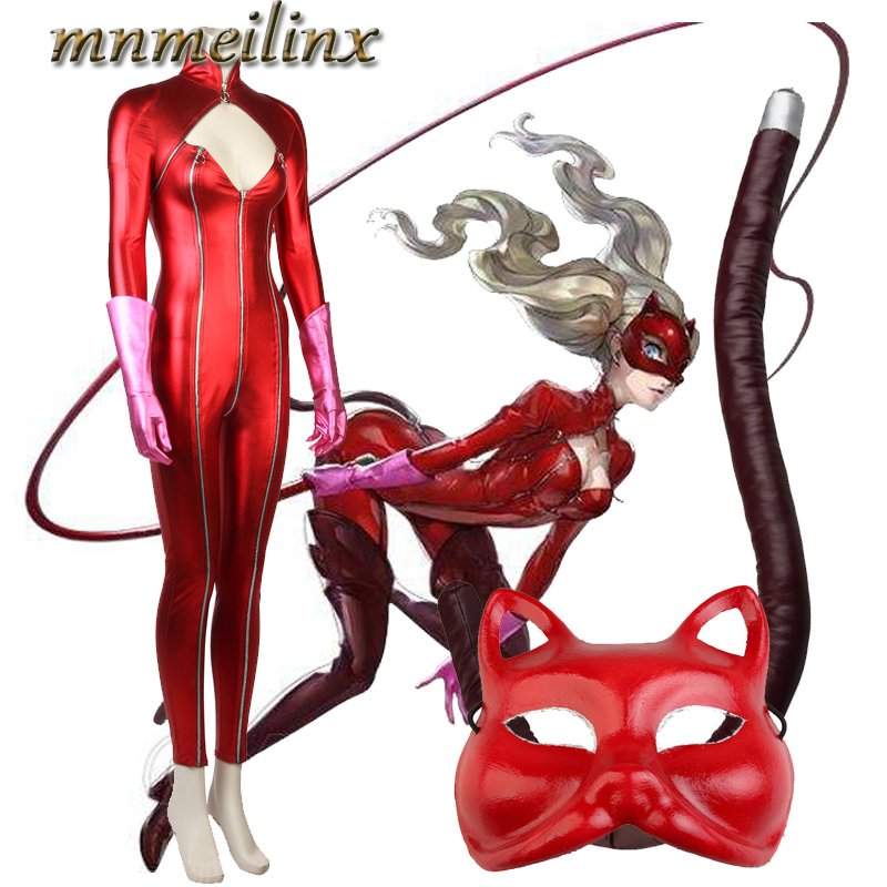 Anime Persona 5 Ann Anne Megami Tensei Takamaki Cosplay Costume Halloween Custom Made Unisex Jumpsuit with Tail Mask