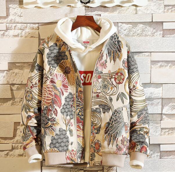Printemps hotsale japonais broderie hommes veste manteau Hip Hop Streetwear 5XL veste manteau Bomber veste 2019 automne nouveaux vêtements