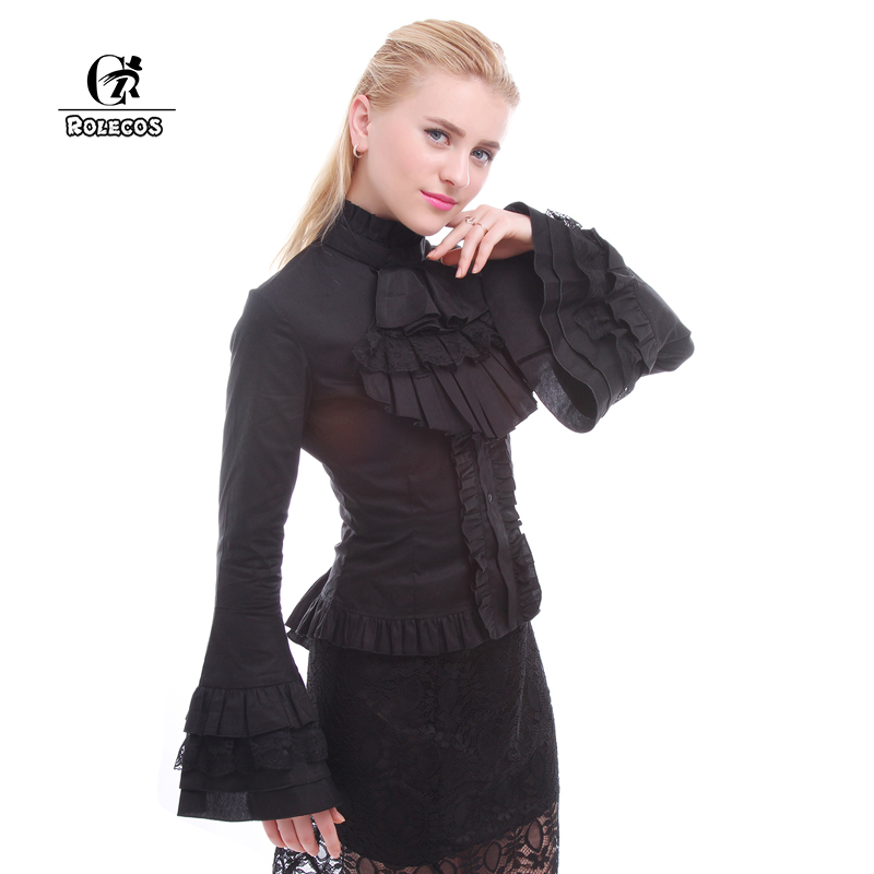 ROLECOS New Fashion Lolita Style Women Blouse Stand Collar Long Sleeve Black Lolita Blouses Vintage Gothic Women Shirts