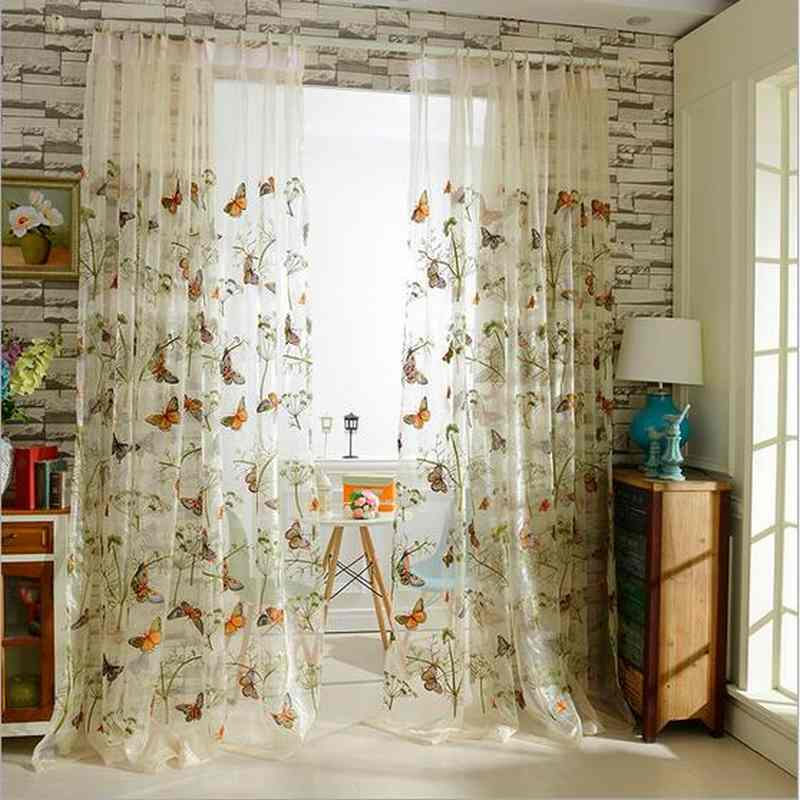 High quality Korean embroidered butterfly Window Curtain Tulle voile for Living Room Children's bedroom 10% silk 1pcs price