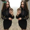 TAOVK новая мода Русский стиль Весной и Осенью Верхняя Одежда Black Dress Шить Кружева dress for women