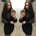 TAOVK new fashion Russian style Spring and Autumn Ladie's Black Dress Stitching Lace dress for women