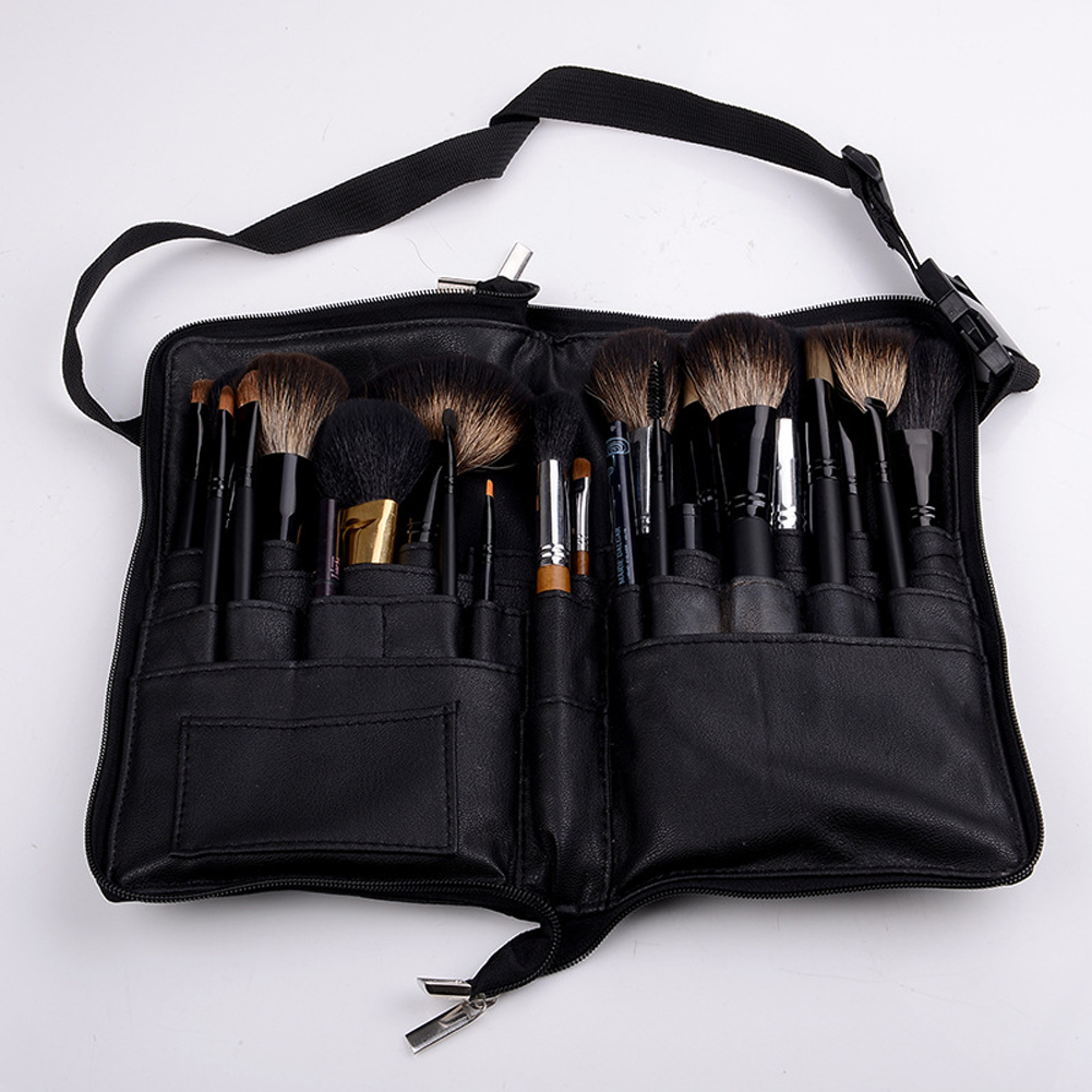 Black 32 Pockets Makeup Brush Holder Case Bag Zipper Artist Belt Strap Cosmetic Brush Makeup Brushes PU Holder Apron Bags