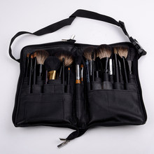 Black 32 Pockets Makeup Brush Holder Case Bag Zipper Artist Belt Strap Cosmetic Brush Makeup Brushes PU Holder Apron Bags(China)
