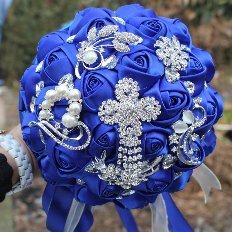 New Pop Bride Flower Bouquet Royal Blue Brooch Wedding