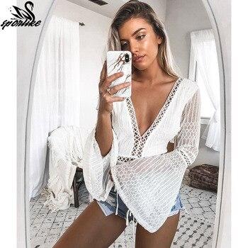 Beach Chiffon V cover up skirt blouse bathing sexy top slim Loose white Lace beach dress Cardigan tunic pareo saida de praia