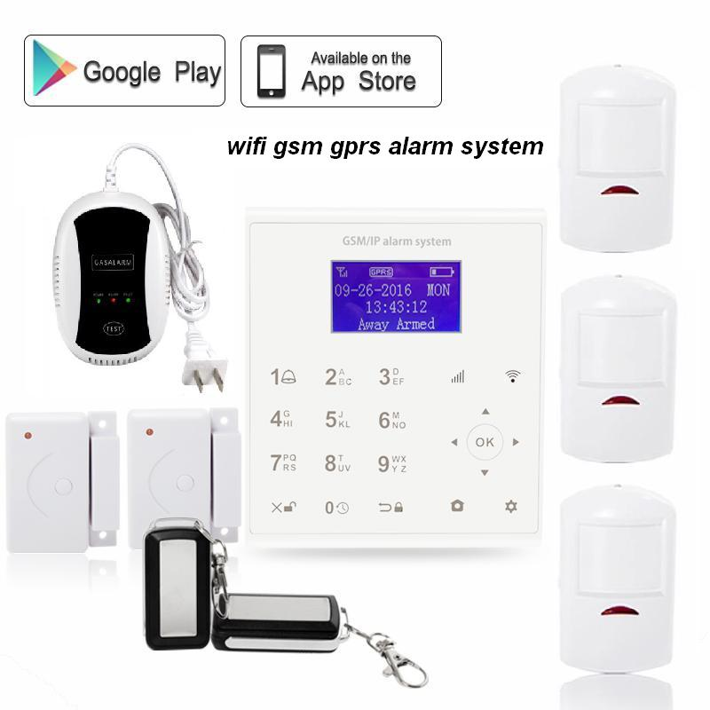 433mhz Wireless quad band smart home security wifi alarm system gsm gprs with network gas sensor smartphone Android IOS control