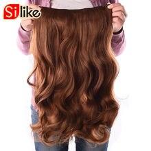 """Silike длинные 24 """"растягивается волнистые клип в Kanekalon Синтетические пряди для наращивания волос 4 Зажимы Одна деталь Однотонная одежда термостойкие Волокно 190 г/шт."""