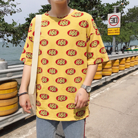 2018 Korean Style Summer Newest Men S Fashion Numbers Printing Round Neck Short Sleeves Loose Yellow