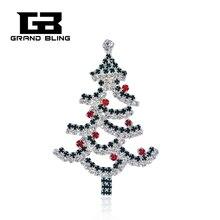 Chritmas Theme Rhinestone Brooch Christmas Tree Pins Bling Jewelry&Gift