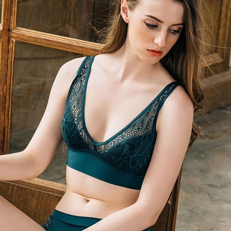 TERMEZY 2019 New Women Fashion Sexy Lace lingerie Wireless Bras For Women Push Up bra set Jacquard Sexy Underwear