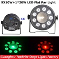 Good Quality 4Pcs 9X10W+1X20W RGBW 4IN1 Led Flat Par Cans 120W High Power Stage Par Light Professional Stage Dj Disco Lights