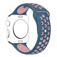 Nuevo Doble Color Flexible de Silicona Transpirable Deporte Banda para Apple venda de Reloj 42mm 38mm Pulsera de la Correa Para iWatch banda