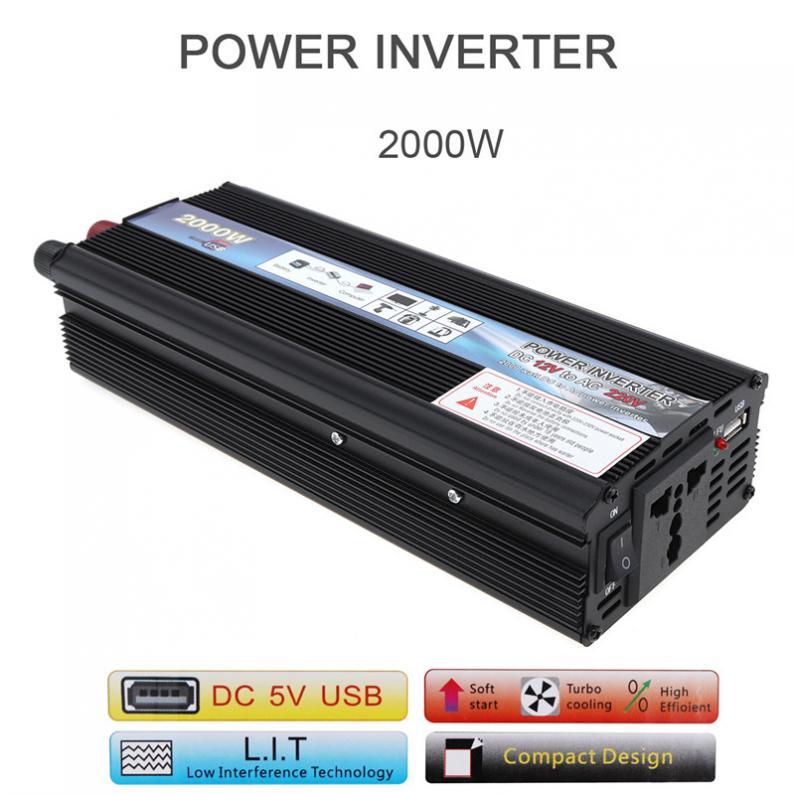 2000W DC 12V 24V to AC 220V 110V Aluminum Alloy Case Car Inverter Charger Converter Transformer with Vehicle Power Switch