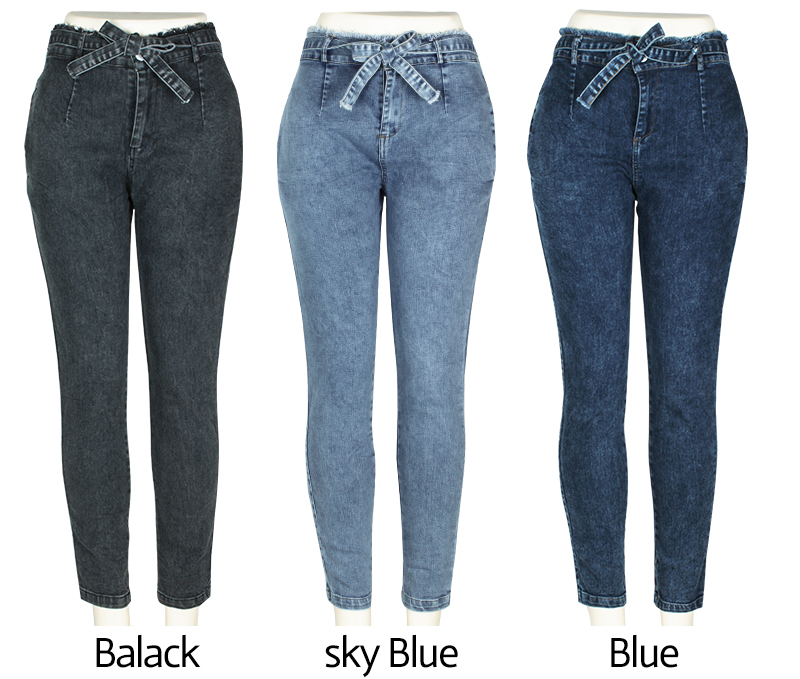 Solid Skinny Ruffles Denim High Elastic Pants