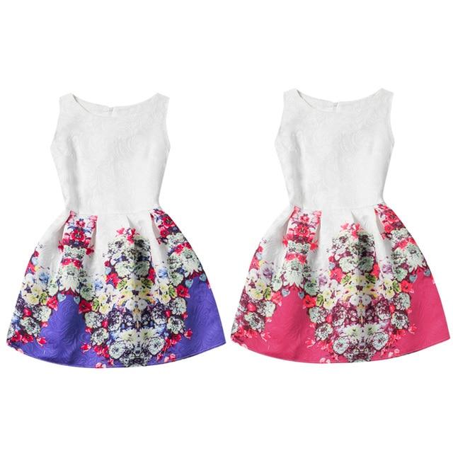 003692f5b0505 Robe fille été enfants gilet robe filles sans manches robes imprimé fleur  fille princesse robes fête