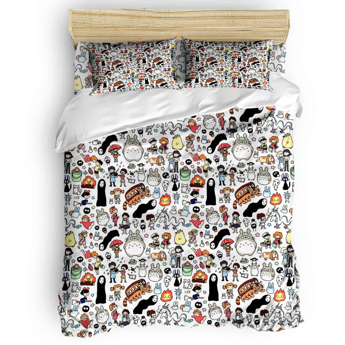 Kawaii Ghibli Doodle Duvet Cover Cotton Duvet Cover King Size Queen Size Quilt Cover Set Bedclothes Comforter Single Bedding Set Bedding Sets Aliexpress