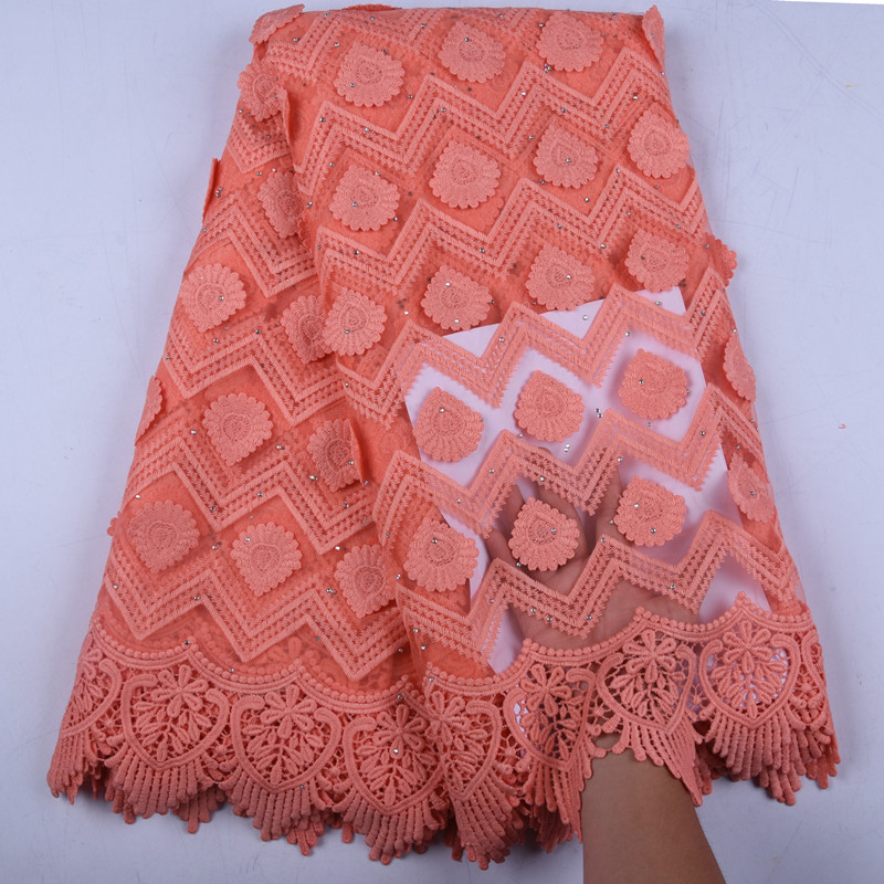 Latest African Milk Silk Applique Lace Fabric High Quality French Mesh Lace Fabric With Stones Milk