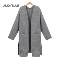 Amoyblue Solid Grey Knitted Sweater Coat 2017 Ladies Loose Cardigan Sweater Long Sleeve Women Fashion Plus