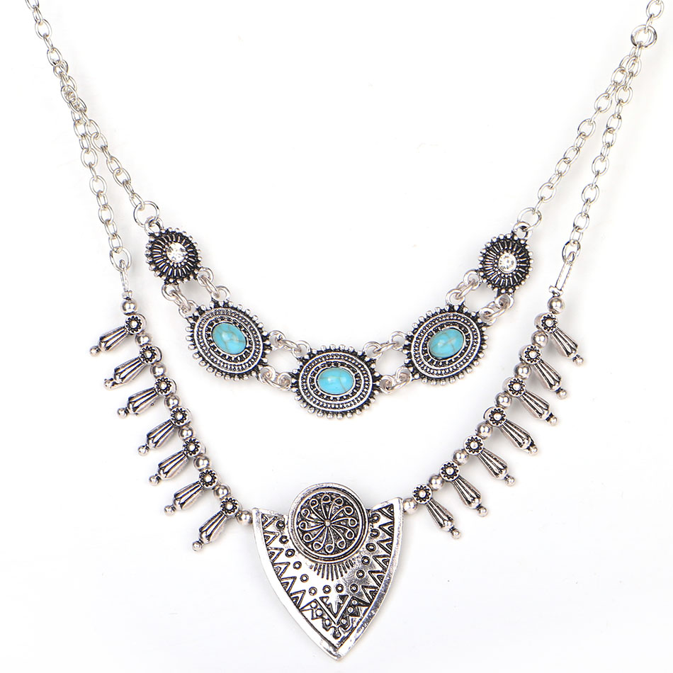 Match-Right Women Necklace Vintage Statement Necklaces Pendants Bohemia Jewelry Double Layer Necklace Women Accessories KK033