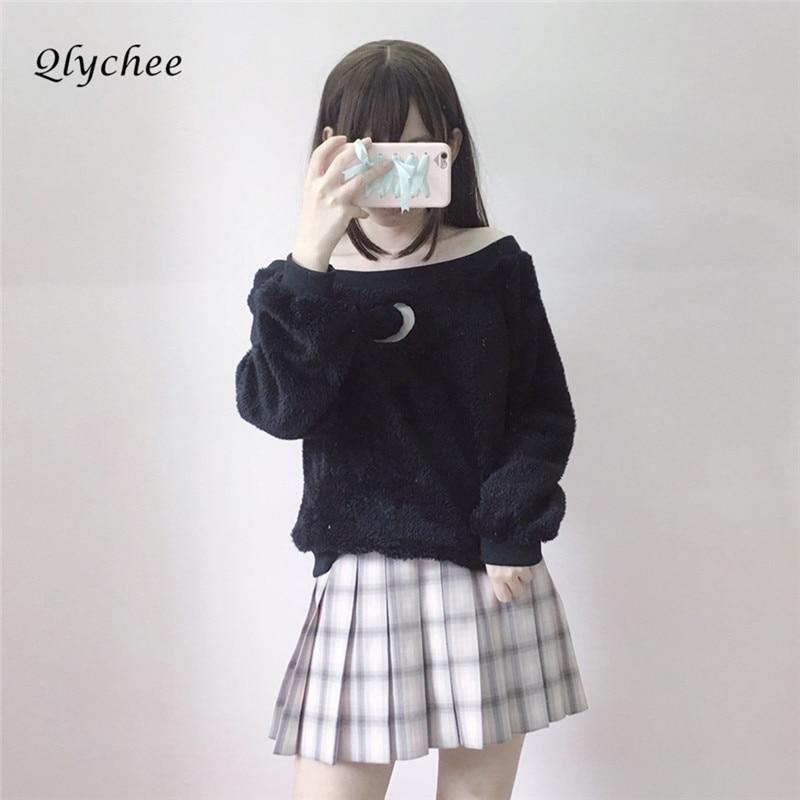 Qlychee Sexy Slash Neck Moon Hollow Out Women Sweatshirt Off Shoulder Autumn Winter Warm Long Sleeve Sweatshirt Cute Pullover