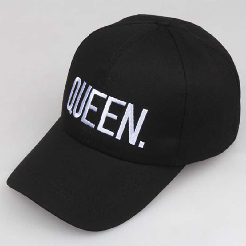 ยอดนิยมฤดูใบไม้ผลิและฤดูร้อนคู่ king queen letter ปักหมวกเบสบอลแฟชั่น king queen หมวกฝ้าย