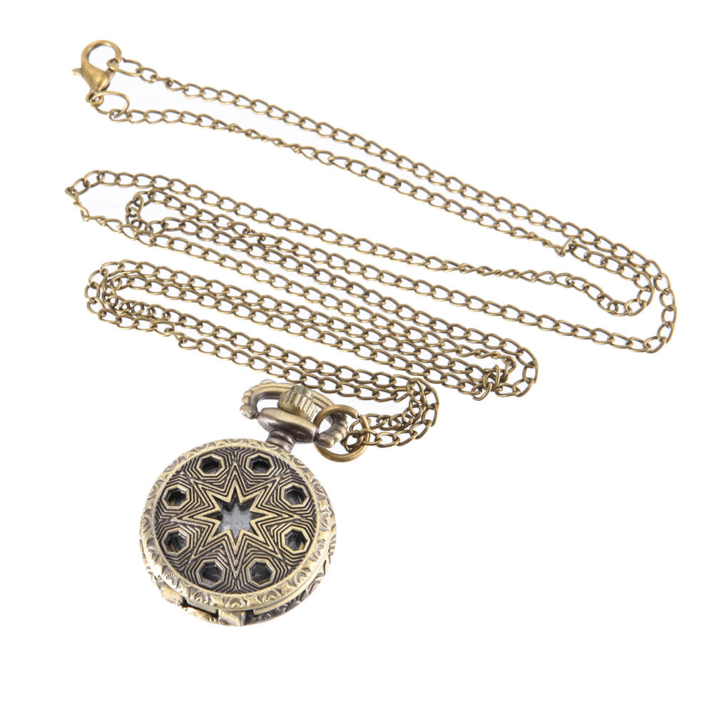 Vintage Pocket Watch Bronze Color Quartz Watch Cool Chain Hollow Pentagram Watches LXH