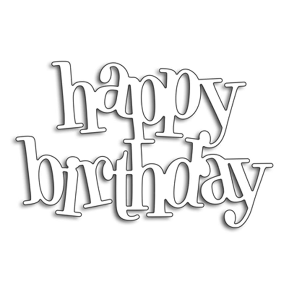 Happy birthday Word Dies Cut Metal Cutting Dies Stencils ...