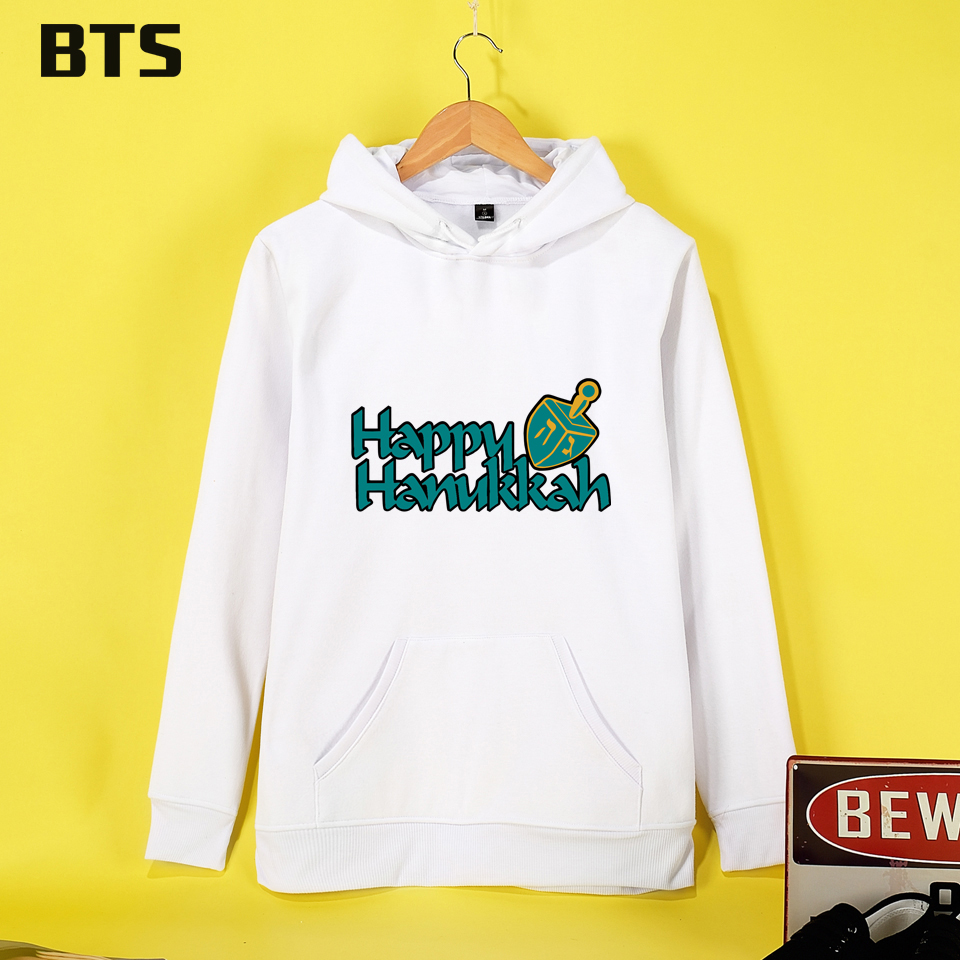 BTS HANUKKAH Oversized Hoodie Print Plus Size Creative Harajuku Autumn Winter Casual Fashion Women Hoodies Sweatshirts Kawaii