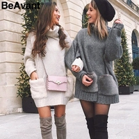 BeAvant Elegant turtleneck women knitted dress Fur pocket ladies knit sweater dress gray 2018 Loose autumn winter dress female