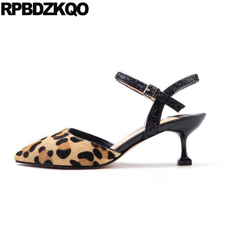 Slingback Ankle Strap Sandals Medium Heels Plus Size Glitter High Shoes Lady 12 44 Kitten Leopard Print Pumps Pointed HorsehairSlingback Ankle Strap Sandals Medium Heels Plus Size Glitter High Shoes Lady 12 44 Kitten Leopard Print Pumps Pointed Horsehair