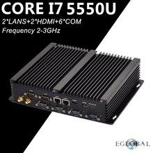 Процессор EGlobal Fanless промышленный Мини компьютер i7 5550U i5 4200U i3 4010U 2* Intel 82583 V гигабит, сетевые карты 6* RS232 тонкий компьютер 300 м Wi-Fi 2* HDMI