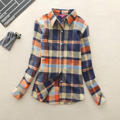 2017 hot sprzedaż jesień zima panie kobieta casual cotton lapel bluzka bluzki z długim rękawem kratę koszula kobiet szczupła odzieży wierzchniej clothing 23