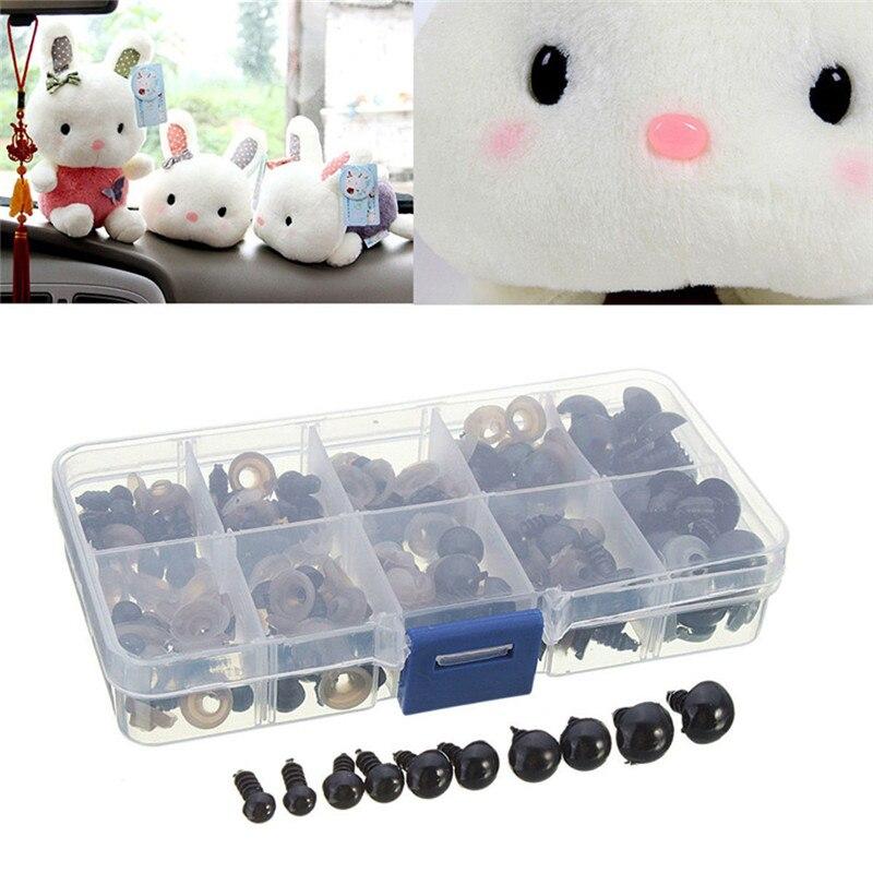 100 Stuks Plastic Veiligheid Ogen Ringen Zwarte Schroef Eye Boxed Speelgoed Accessoires Hand Making Diy Craft Op Reis