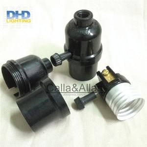 Image 5 - 50units/set black bakelite light sockets with chain switch or key switch E27 lamp holders black plastic lighting sockets