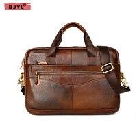 BJYL 14 Laptop Men Briefcase Cowhide Genuine Leather Handbags men shoulder cross section business Messenger Crossbody Bags