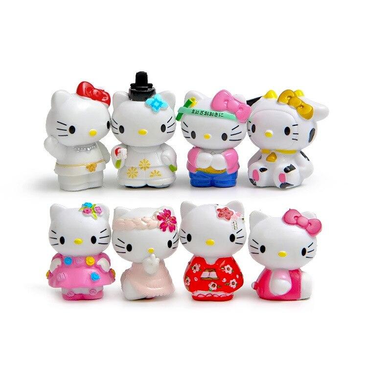 8 шт./компл. рисунок «Hello Kitty» DIY ПВХ игрушки Рисунок фигурку куклы аниме ПВХ модель микро-Пейзаж орнамент сада подарка Игрушечные лошадки