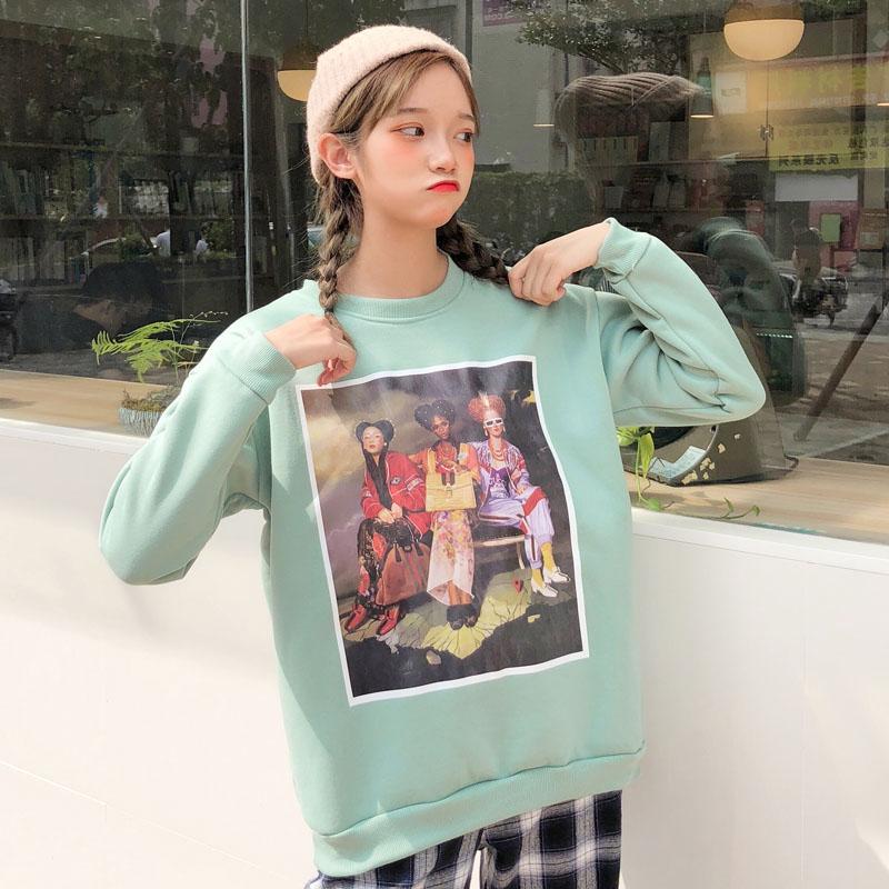 58790aa2f5550 Autumn winter Thicken Harajuku Sweatshirt Long Sleeve green students Pullover  character Printed Women warm oversize Hoodies tops-in Hoodies & Sweatshirts  ...