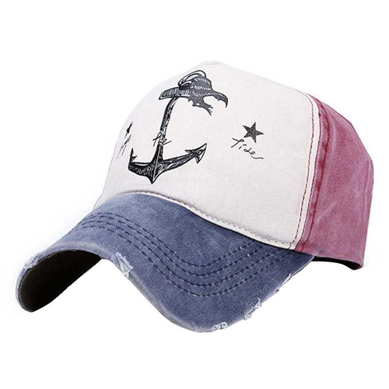 New Spring Autumn Man Woman Adjustable   Baseball     Caps   Cotton Sun Hat Casual Unisex Couples Do Old Pirate Ship Anchor Fashion