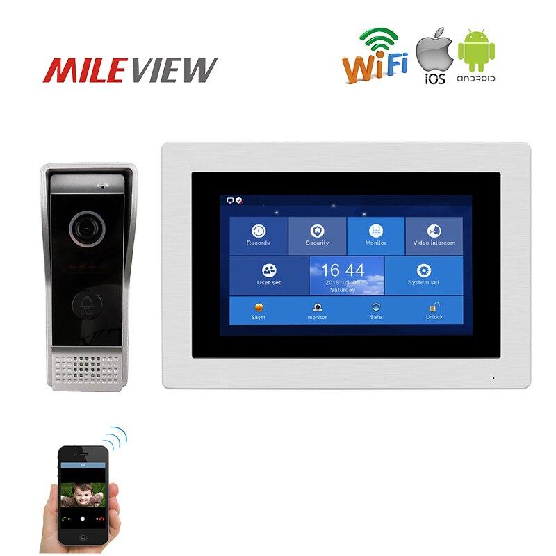 Frete Grátis AHD 1.0MP 720 P IP HD WI-FI 7 Tela De toque Vídeo Porteiro Telefone Da Porta Kit De Gravação Monitor Remoto Do Telefone Android IOS
