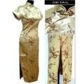Free Shipping Gold Chinese Women's Satin Qipao Long Cheong-sam Dress Flower S M L XL XXL XXXL 4XL 5XL 6XL J3081