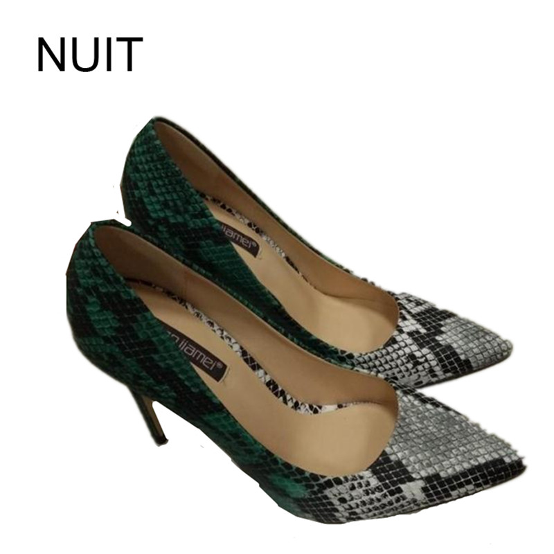 ФОТО 2017 Women Pumps Fashion Sexy High Heels Shoes ladies Pointed Toe Thin Heel Serpentine female Wedding Shoes chaussure femme