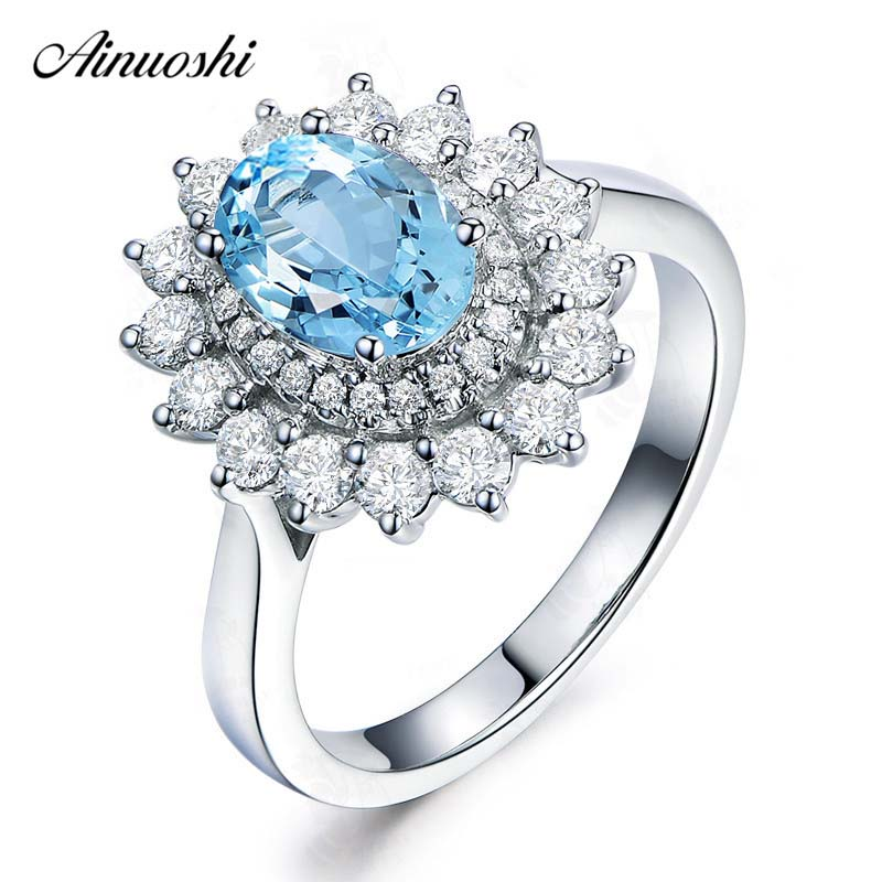 AINUOSHI Pure 925 Silver Natural Topaz Sunflower Ring 1.5 ct Oval Cut Sky Blue Topaz Halo Ring Woman Engagement Wedding RingAINUOSHI Pure 925 Silver Natural Topaz Sunflower Ring 1.5 ct Oval Cut Sky Blue Topaz Halo Ring Woman Engagement Wedding Ring