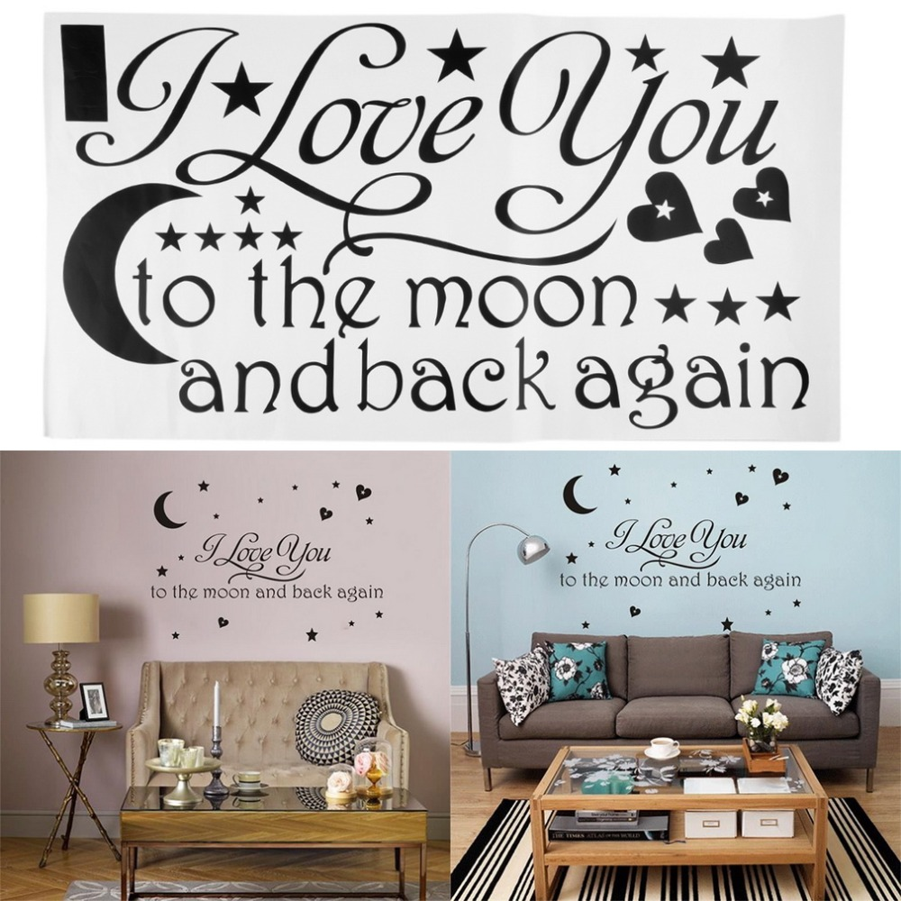 New Arrival Fashion 1Set I Love You To The Moon And Back Again Quote Wall Sticker Home Decor Decals