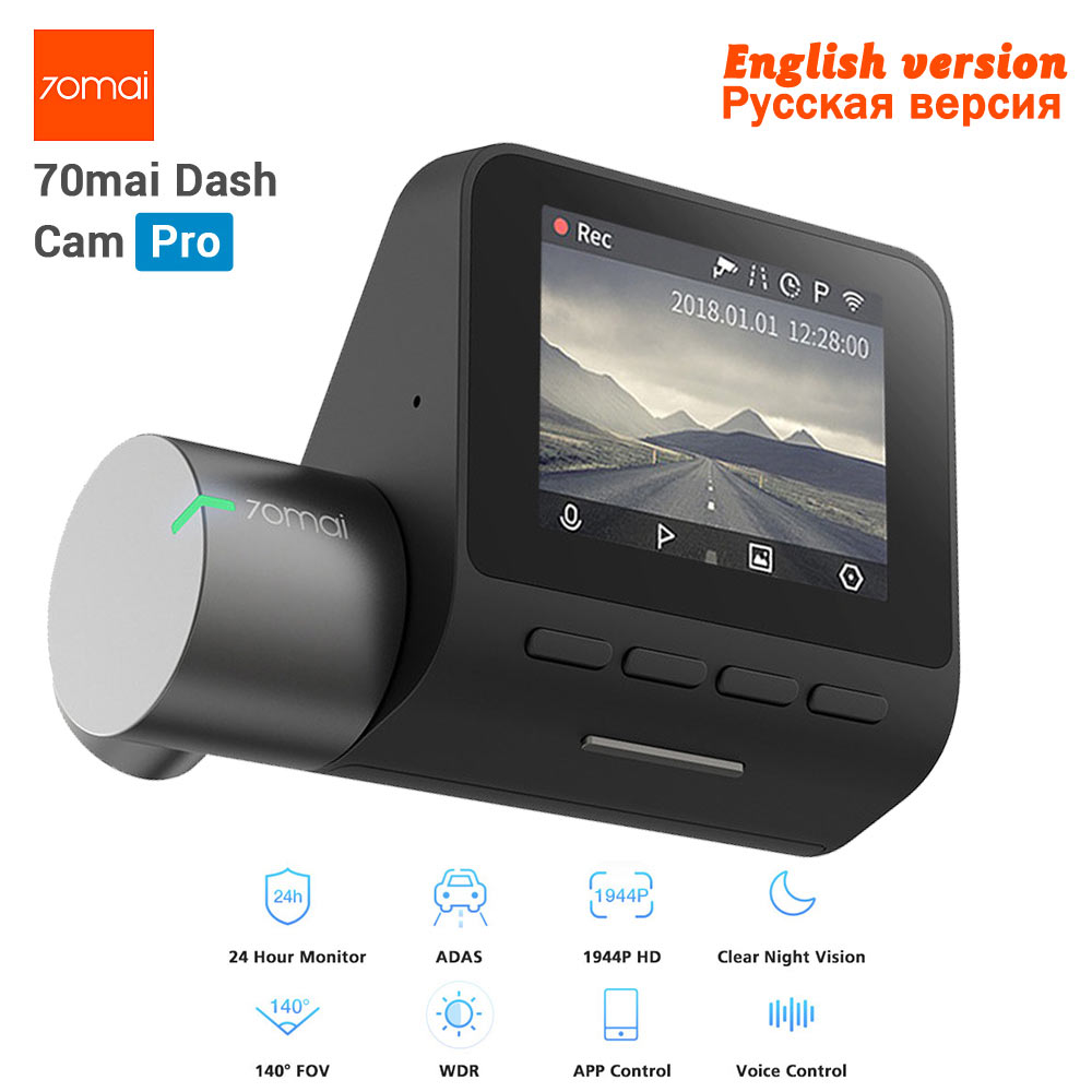 New Xiaomi 70mai Dash Cam Pro GPS IMX335 WIFI Voice Smart Co