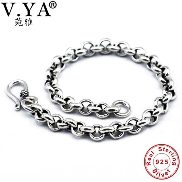 V Ya Solid 925 Sterling Silver Men Bangles Bracelet Luxury Male Charm Bracelets 5mm S